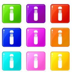 usb flash drive icons 9 set vector image vector image