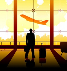 waiting at the airport vector image vector image