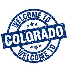 Welcome to colorado blue stamp vector