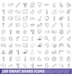 100 smart board icons set outline style vector image