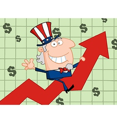 Waving uncle sam riding a growth arrow vector