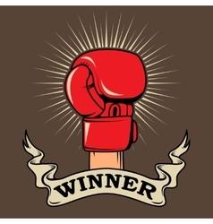 Winner human hand in boxing glove design element vector