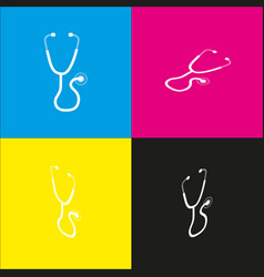 Stethoscope sign   white icon vector