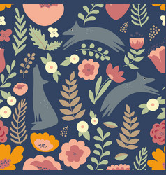 wolves and colorful stylized flowers seamless vector image