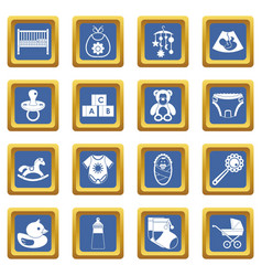 newborn icons set blue vector image