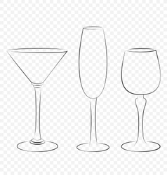Three isolated outline glass for alcohol drinks vector