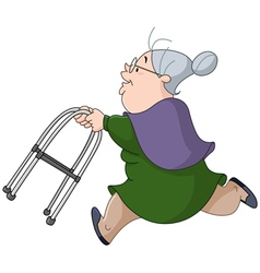 old woman running with walker vector image