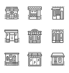 Storefronts line icons vector