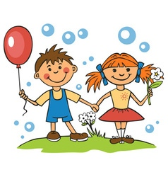 Friends boy and girl vector