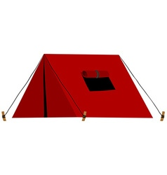 Red tent with folded window vector