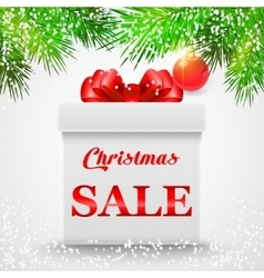 Christmas sale gift white box with a red bow vector