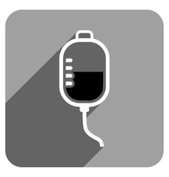 Therapy dropper flat square icon with long shadow vector