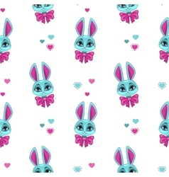 Pretty seamless pattern with cute bunny vector