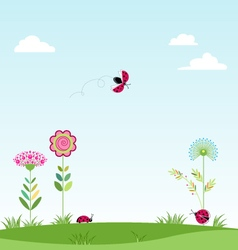 Landscape clouds flowers ladybug vector