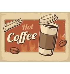 Vintage of hot coffee cup vector