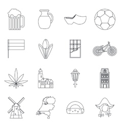 Netherlands icons set outline style vector