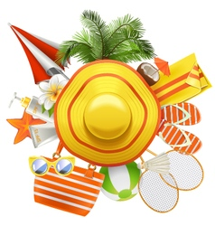 Beach accessories with hat vector