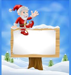 Cartoon santa christmas sign vector