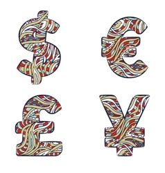 Currency signs dollar euro yen pound sterling vector
