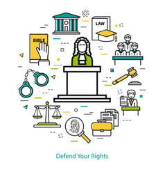 defend your rights - round concept vector image