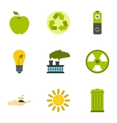 Ecology icons set flat style vector