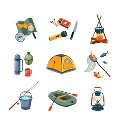 Fishing and camping equipment in flat design vector