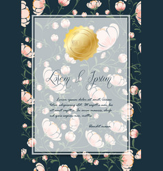 Flowers poster template on blue background vector