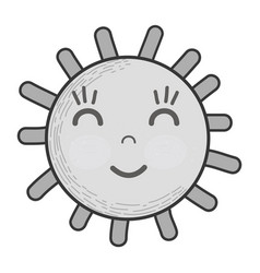 Grayscale kawaii happy sun with close eyes and vector