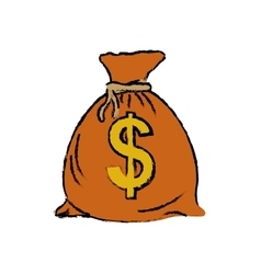 Isolated money bag vector