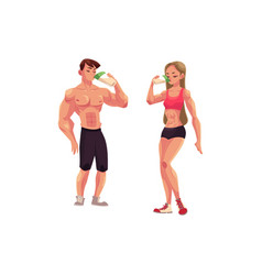 Man and woman bodybuilders weightlifters drinking vector