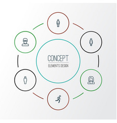 Person outline icons set collection of man user vector