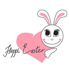 rabbit heart vector image vector image