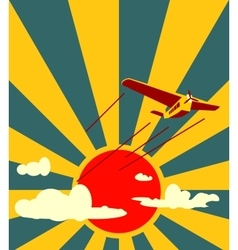 retro airplanes flight on sun burst backdrop vector image vector image