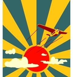 Retro airplanes flight on sun burst backdrop vector