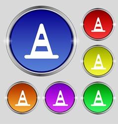 road cone icon sign Round symbol on bright vector image