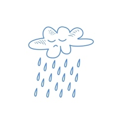 Sad cloud pouring rain vector