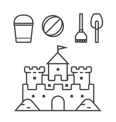 Sand castle and beach toys icons vector