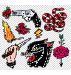 Set of danger related classic flash style patches vector