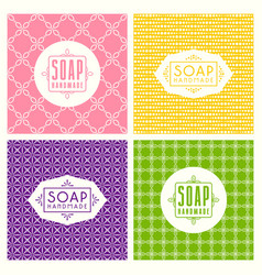 set of seamless pattern and labels for soap vector image vector image