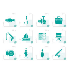Stylized fishing and holiday icons vector