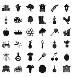 Wagon icons set simple style vector