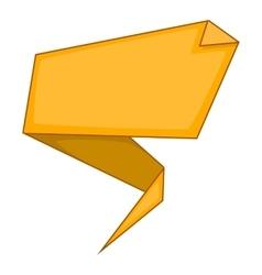 Yellow origami speech bubble icon cartoon style vector