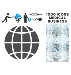 Globe icon with 1000 medical business symbols vector