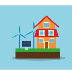 Solar panel and house design vector