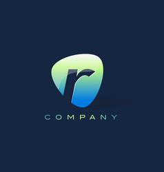 R letter logo oval shape modern design vector