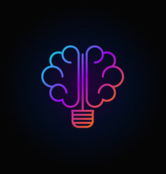 Brain light bulb colorful icon vector