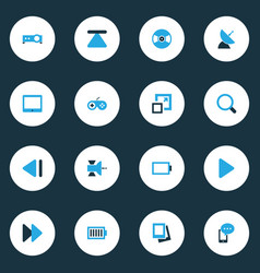 Media colorful icons set collection of satellite vector