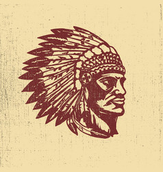 Native american chief head design elements for vector