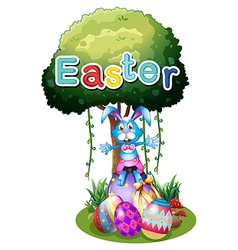 Easter eggs and a bunny under the tree vector