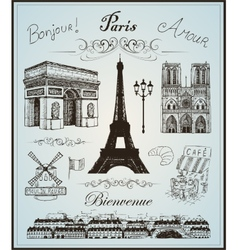 Paris collection elements hand drawn vector